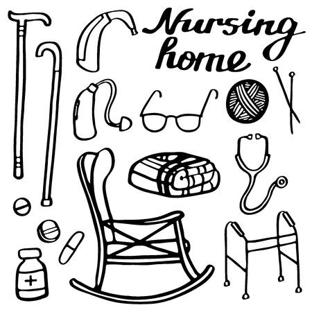 seniorenheim: Pflegeheim eingestellt. Handgezeichnete Sachen f�r Senioren zu Hause. Doodle Zeichnung. Vektor-Illustration. Illustration