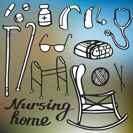 Verpleeghuis stellen. Handgetekende spullen voor ouderen thuis. Doodle tekening. Vector illustratie. Stockfoto - 44789169