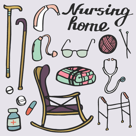 phonendoscope: Nursing home set. Hand-drawn stuff for elderly home. Doodle drawing. Vector illustration.