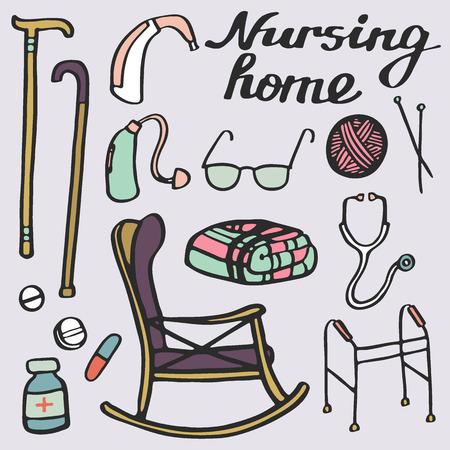 Verpleeghuis stellen. Handgetekende spullen voor ouderen thuis. Doodle tekening. Vector illustratie.