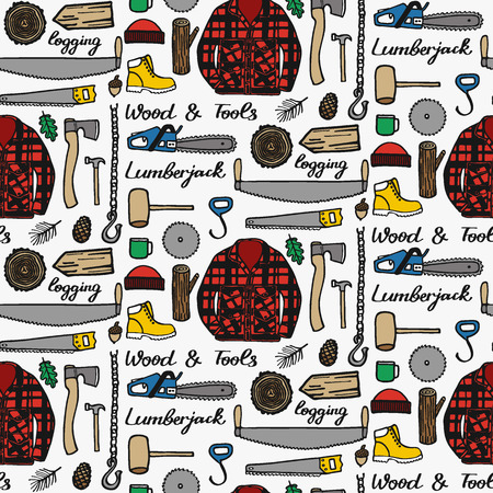 logging: Lumberjack set, wood and tools. Hand-drawn seamless cartoon pattern with logging elements. Doodle drawing. Vector illustration.