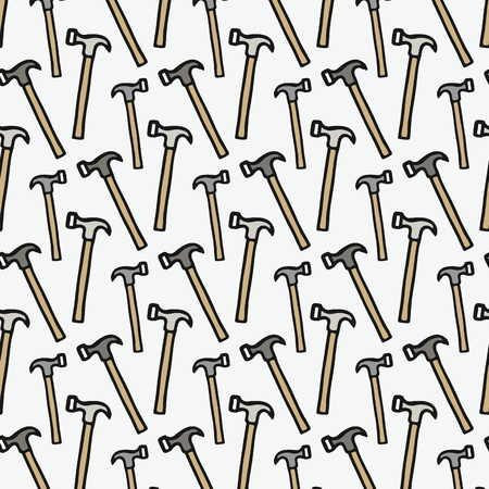 sledgehammer: Claw hammer - wood and tools. Hand-drawn seamless cartoon pattern with hammers. Doodle drawing. Vector illustration.