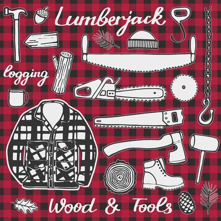 logging: Lumberjack set, wood and tools. Hand-drawn cartoon logging stuff. Doodle drawing. Vector illustration.
