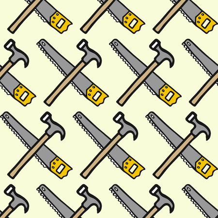 лесозаготовки: Saw and claw hammer - wood and tools. Hand-drawn seamless cartoon pattern with logging equipment.  Doodle drawing. Vector illustration. Иллюстрация