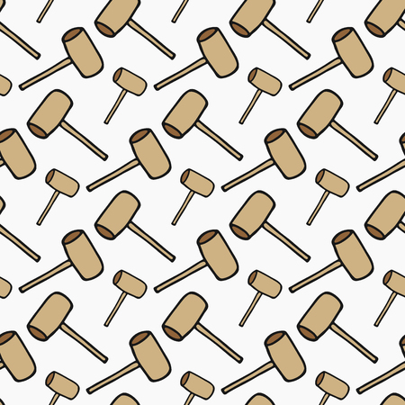 sledgehammer: Sledgehammer - wood and tools. Hand-drawn seamless cartoon pattern with hammer. Doodle drawing. Vector illustration. Illustration