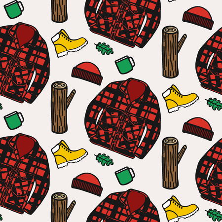 лесозаготовки: Lumberjack clothing. Hand-drawn seamless cartoon pattern with logging style.  Doodle drawing. Vector illustration.