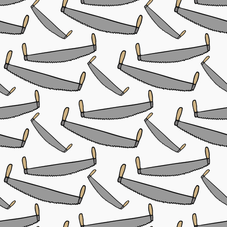 logging: Two-handed saw - wood and tools. Hand-drawn seamless cartoon pattern with logging device.  Doodle drawing. Vector illustration.