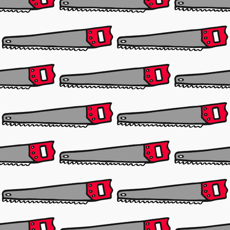 logging: Hand saw - wood and tools. Hand-drawn seamless cartoon pattern with logging device.  Doodle drawing. Vector illustration.