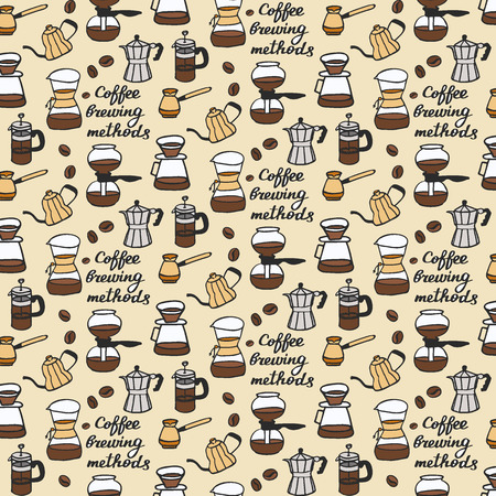 methods. Seamless pattern with doodle coffee stuff. Hand-drawn sketch background. Vector illustration.