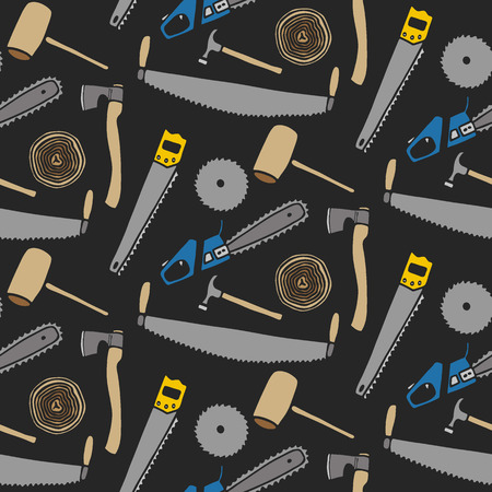 lumber: Lumberjack set, wood and tools. Hand-drawn seamless cartoon pattern with lumber clothing. Doodle drawing. Vector illustration.