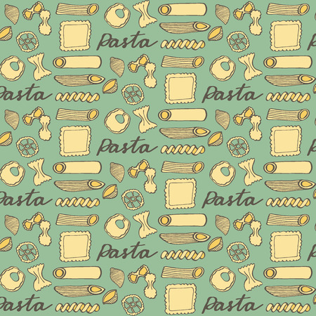 italian pasta: Pasta. Hand-drawn cartoon pattern with different kinds of pasta. Doodle drawing. Vector illustration. Illustration