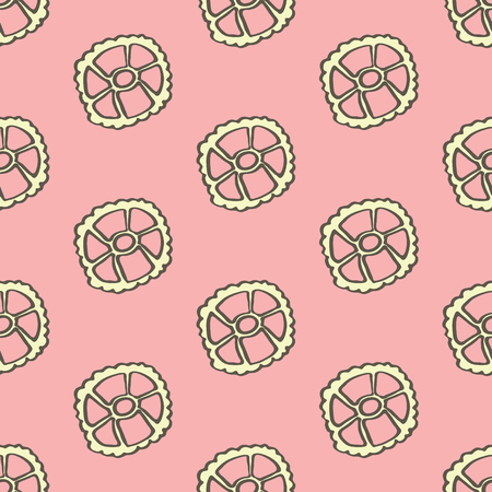 cartwheel: Ruote. Seamless pattern with doodle kind of pasta.  Hand-drawn sketch background. Vector illustration. Illustration