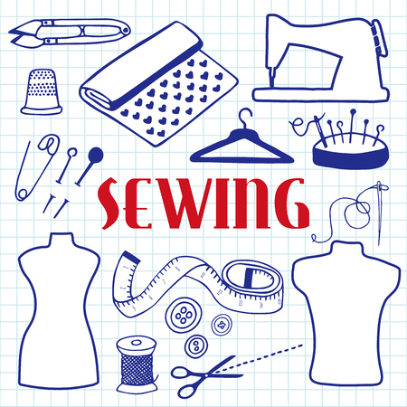 blue pen: Sewing set. Hand-drawn cartoon sewing tools. Blue pen doodle drawing. Vector illustration.