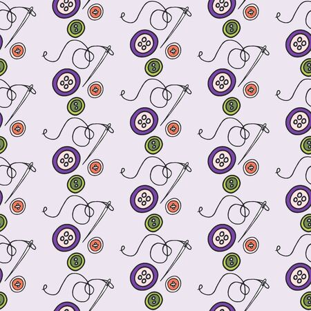 darn: Buttons and needle. Seamless pattern with hand-drawn cartoon sewing tools. Doodle drawing. Vector illustration.