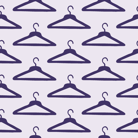 coat hanger: Coat hanger. Seamless pattern with hand-drawn cartoon sewing tools. Doodle drawing. Vector illustration.