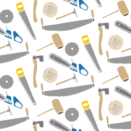logging: Saws and hammers - wood and tools. Hand-drawn seamless cartoon pattern with logging device.  Doodle drawing. Vector illustration.