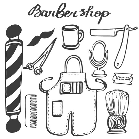 male grooming: Barbershop set. Hand-drawn cartoon hairdressing stuff. Doodle drawing. Vector illustration. Illustration