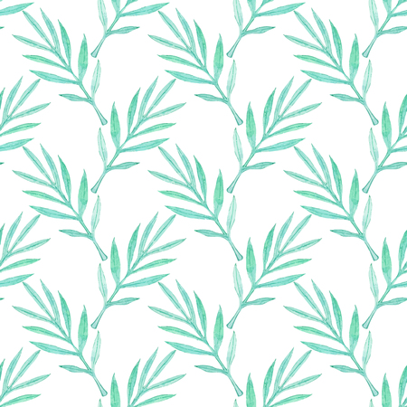 palm branch: Palm branch. Seamless pattern with leaves. Hand-drawn background. Vector illustration. Real watercolor drawing. Illustration