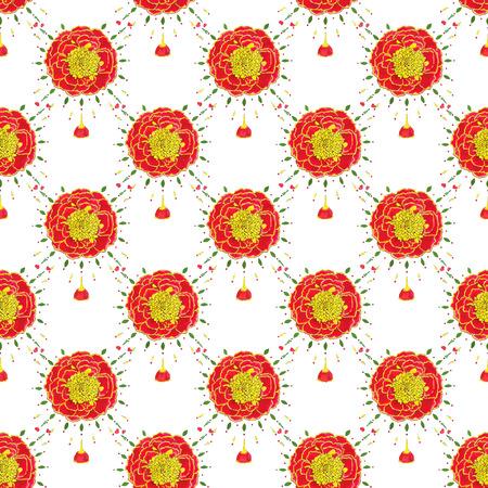 cempasuchil: Marigold. Patr�n sin fisuras con flores. Dibujado a mano a fondo. Ilustraci�n del vector. Dibujo acuarela Real.