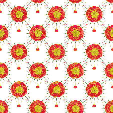 marigold: Marigold. Seamless pattern with flowers. Hand-drawn background. Vector illustration. Real watercolor drawing.