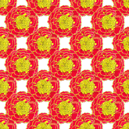 calendula flower: Marigold. Seamless pattern with flowers. Hand-drawn background. Vector illustration. Real watercolor drawing.