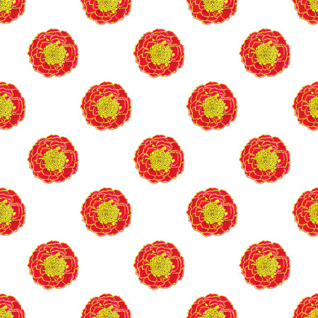 officinalis: Marigold. Seamless pattern with flowers. Hand-drawn background. Vector illustration. Real watercolor drawing.