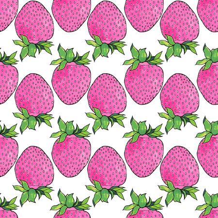 ripened: Strawberries. Seamless pattern with berries. Hand-drawn background. Vector illustration. Real watercolor drawing.