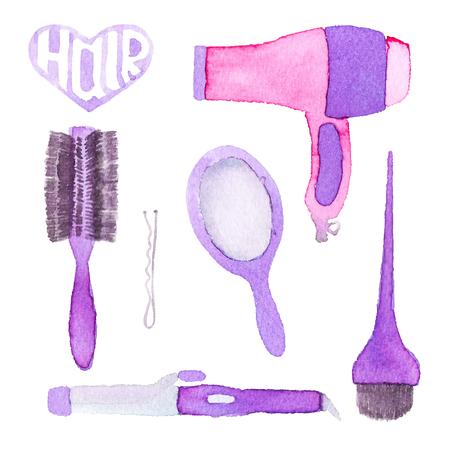 hairstyling: Conjunto Peluquer�a. Herramientas Dibujado a mano. Dibujo acuarela Real. Ilustraci�n del vector. Pintura Trazado