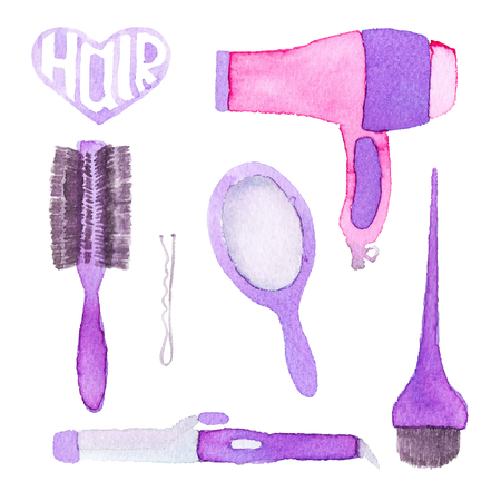 hairstyling: Hairstyling set. Hand-drawn tools. Real watercolor drawing. Vector illustration. Traced painting