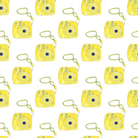Instant photo camera. Seamless pattern with cameras. Hand-drawn background. Vector illustration. Real watercolor drawing.