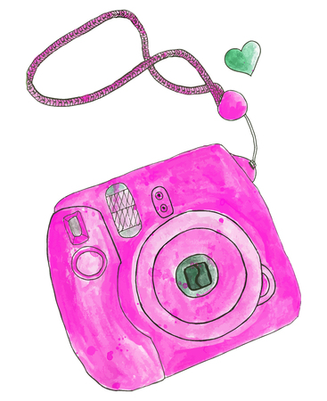 camera: Instant photo camera. Hand-drawn camera. Real watercolor drawing. Vector illustration. Traced painting