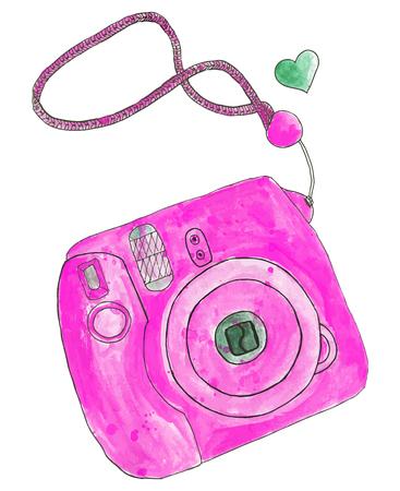 macchina fotografica: Macchina fotografica istantanea. Disegnato a mano fotocamera. Disegno ad acquerello reale. Illustrazione vettoriale. Pittura Tracciato