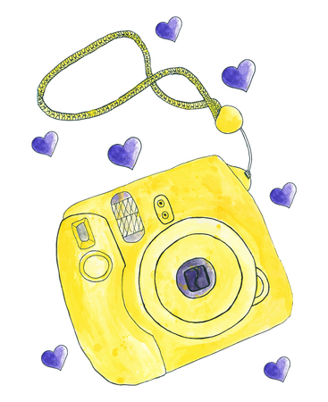 photo real: Instant photo camera. Hand-drawn camera. Real watercolor drawing. Vector illustration. Traced painting