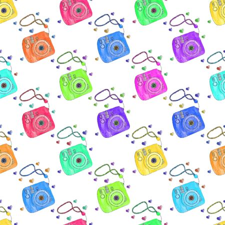 warhol: Instant photo camera. Seamless pattern with cameras. Hand-drawn background. Vector illustration. Real watercolor drawing.