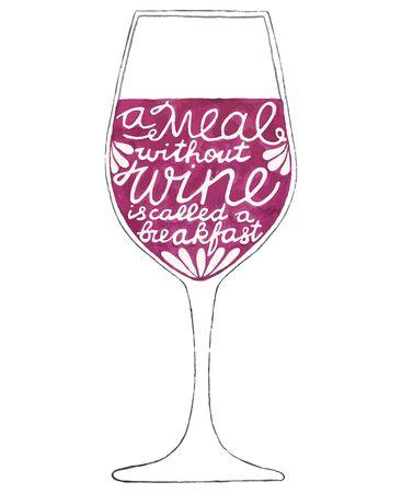 tomando alcohol: GlaGlass de vino. Dibujado a mano-letras. Cita Una comida sin vino se llama un desayuno. Dibujo acuarela Real. Ilustración del vector. Pintura Trazado