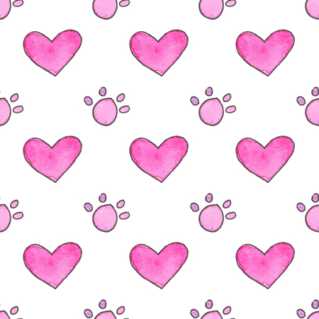 Seamless pattern with cartoon paws and hearts. Hand-drawn background. Vector illustration. Real watercolor drawing.
