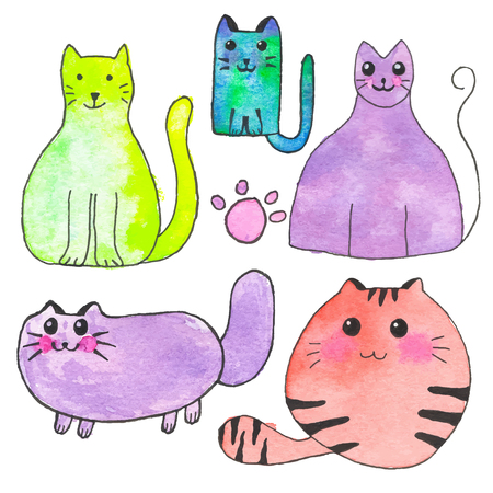 Domestic cat. Hand-drawn set of cartoon pets. Real watercolor drawing. Vector illustration. Traced painting Illustration