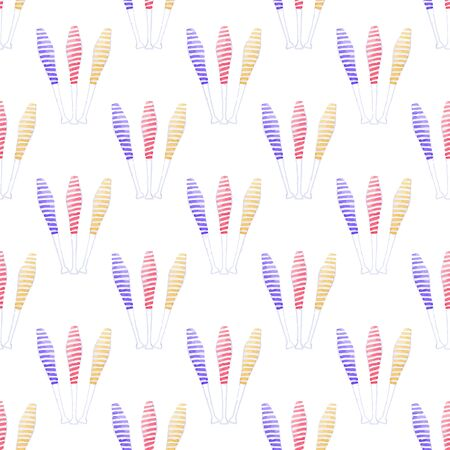 mace: Seamless pattern with juggling mace. Hand-drawn background. Vector illustration. Real watercolor drawing.