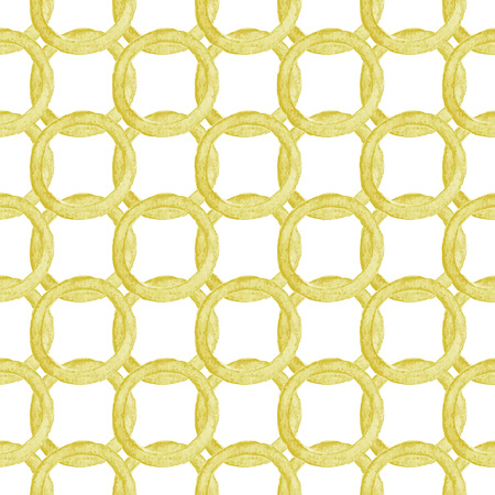 interlink: Seamless pattern with golden chains. Hand-drawn background. Vector illustration. Real watercolor drawing.