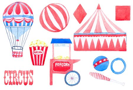 Circus. Hand-drawn set with circus elements. Vector illustration. Traced painting