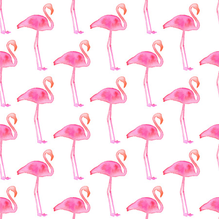 tiffany: Seamless pattern with flamingos. Hand-drawn background. Vector illustration. Real watercolor drawing.