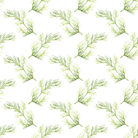 dill: Seamless pattern with dill. Hand-drawn background. Vector illustration. Real watercolor drawing. Illustration
