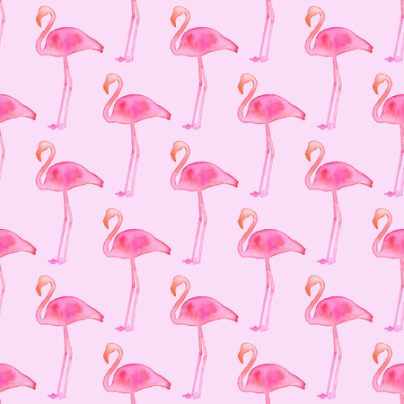 flamingos: Seamless pattern with flamingos. Hand-drawn background. Vector illustration. Real watercolor drawing.