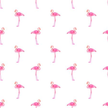flamenco ave: Patrón sin fisuras con los flamencos. fondo dibujado a mano. Ilustración del vector. acuarela dibujo real.