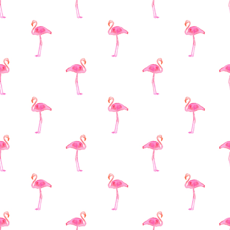 Seamless pattern with flamingos. Hand-drawn background. Vector illustration. Real watercolor drawing.