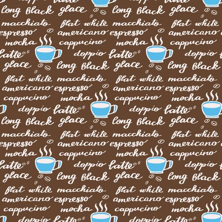 glace: Coffee menu. Seamless pattern with hand-drawn cartoon names of different coffee drinks. Doodle drawing.  Vector illustration.