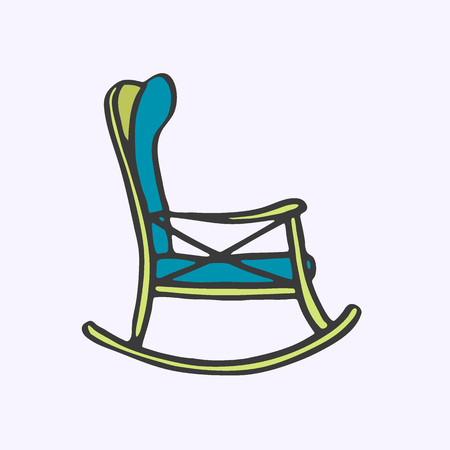 rocker: Rocker chair. Hand-drawn cartoon chair for rest. Doodle drawing. Vector illustration. Illustration
