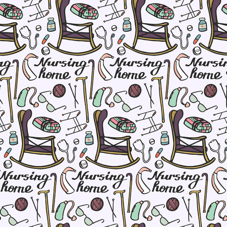 'nursing home': Nursing home set. Seamless pattern with hand-drawn stuff for elderly home. Doodle drawing. Vector illustration.