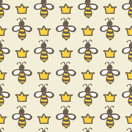 Queen bee. Hand-drawn seamless cartoon pattern with bees and crowns. Doodle drawing. Vector illustration.