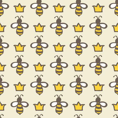 abeja reina: Abeja reina. Patrón de dibujos animados sin fisuras a mano con las abejas y las coronas. Dibujo Doodle. Ilustración del vector. Vectores